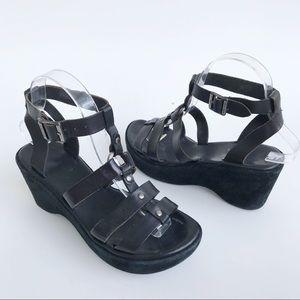 Kork Ease Black Leather Suede Wedge Platform